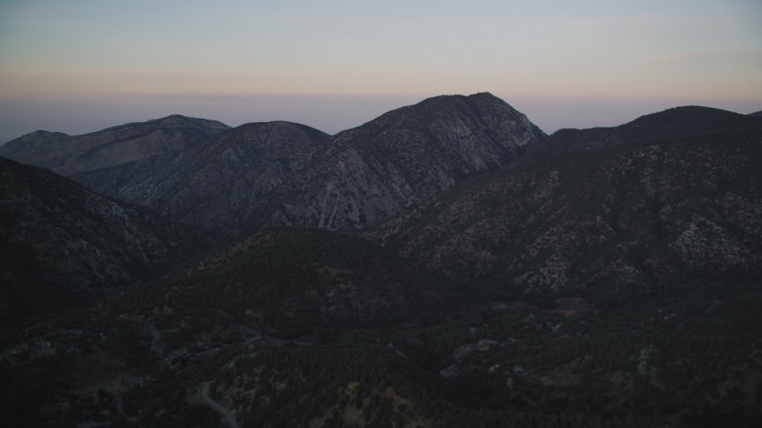 5K stock footage aerial video of flying by mountains, Los Padres National Forest, California, twilight Aerial Stock Footage | DFKSF17_047
