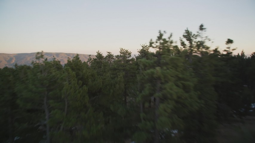 5K stock footage aerial video of flying low over patches of snow and trees in Los Padres National Forest, California, twilight Aerial Stock Footage | DFKSF17_052