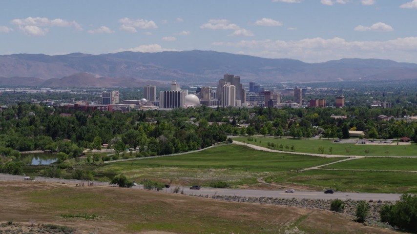 5.7K stock footage aerial video of the city skyline in Reno, Nevada Aerial Stock Footage   DX0001_000001