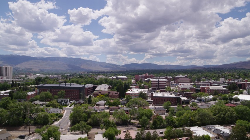 5.7K aerial video of campus buildings at the University of Nevada in Reno, Nevada Aerial Stock Footage   DX0001_000013