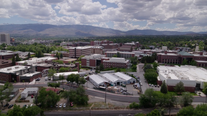 5.7K stock footage aerial video flyby buildings on the campus of the University of Nevada in Reno, Nevada Aerial Stock Footage   DX0001_000016
