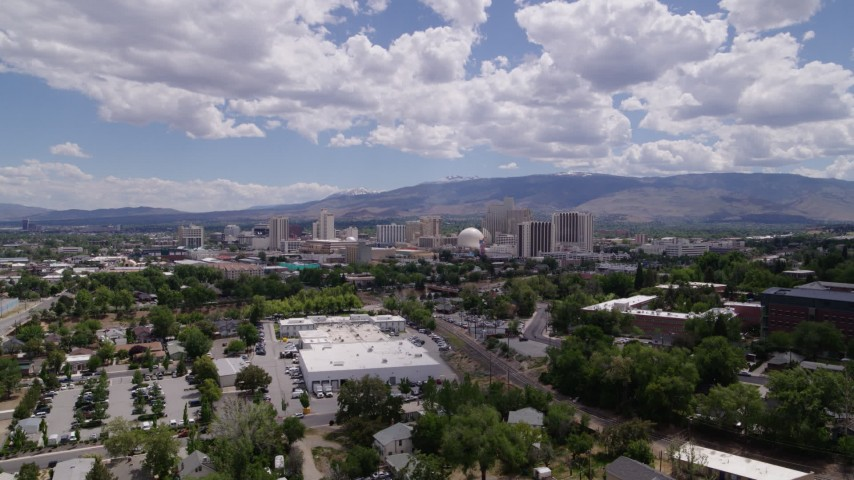 5.7K stock footage aerial video of hotels and casinos seen from the University of Nevada in Reno, Nevada Aerial Stock Footage | DX0001_000018