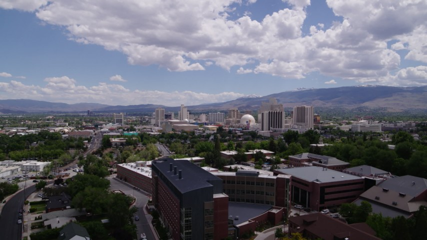 5.7K aerial video of hotels and casinos seen from the University of Nevada in Reno, Nevada Aerial Stock Footage | DX0001_000019