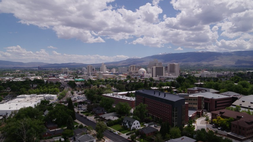 5.7K stock footage aerial video of hotels and casinos seen from north of the city in Reno, Nevada Aerial Stock Footage | DX0001_000022