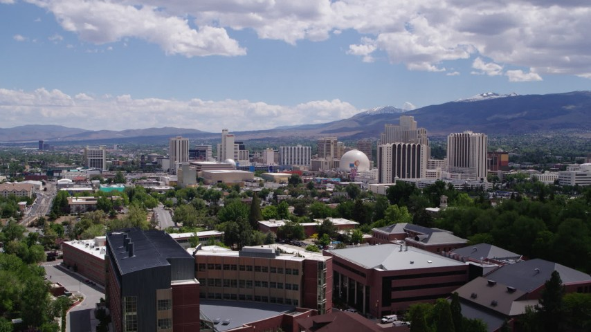5.7K stock footage aerial video of hotels and casinos making up the skyline of Reno, Nevada Aerial Stock Footage | DX0001_000025