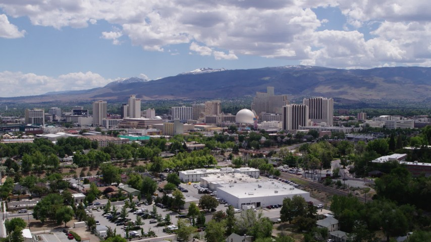 5.7K stock footage aerial video of hotels and casinos of the skyline of Reno, Nevada Aerial Stock Footage | DX0001_000026