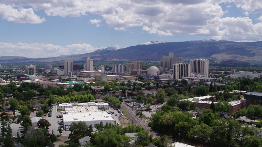 5.7K stock footage aerial video of hotels and casinos of the city's skyline in Reno, Nevada Aerial Stock Footage   DX0001_000027