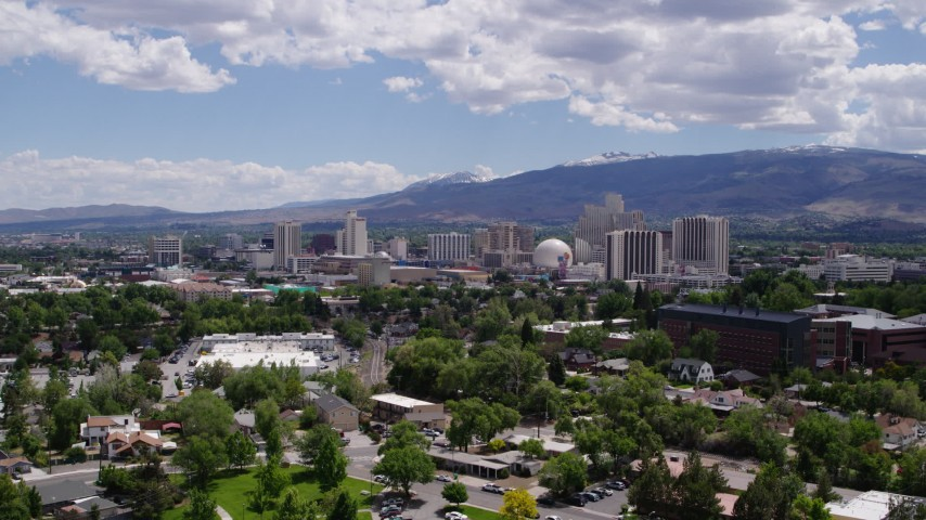 5.7K stock footage aerial video of a static view of hotels and casinos of the city's skyline in Reno, Nevada Aerial Stock Footage | DX0001_000029