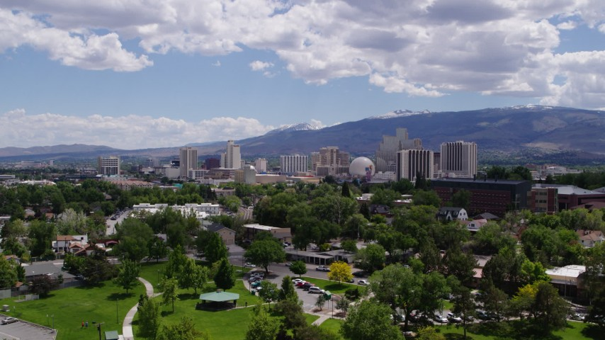 5.7K stock footage aerial video of an approach to hotels and casinos of the city's skyline in Reno, Nevada Aerial Stock Footage | DX0001_000030