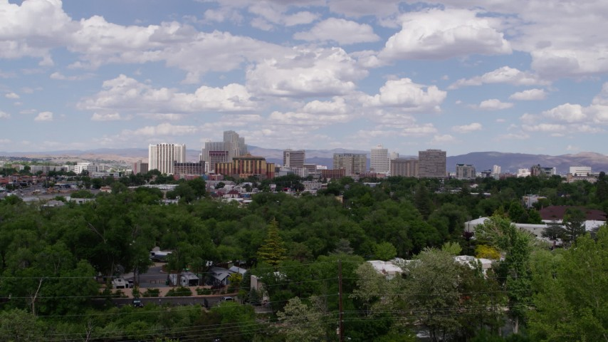 5.7K stock footage aerial video of a view of the city's skyline seen from west of the city in Reno, Nevada Aerial Stock Footage | DX0001_000036