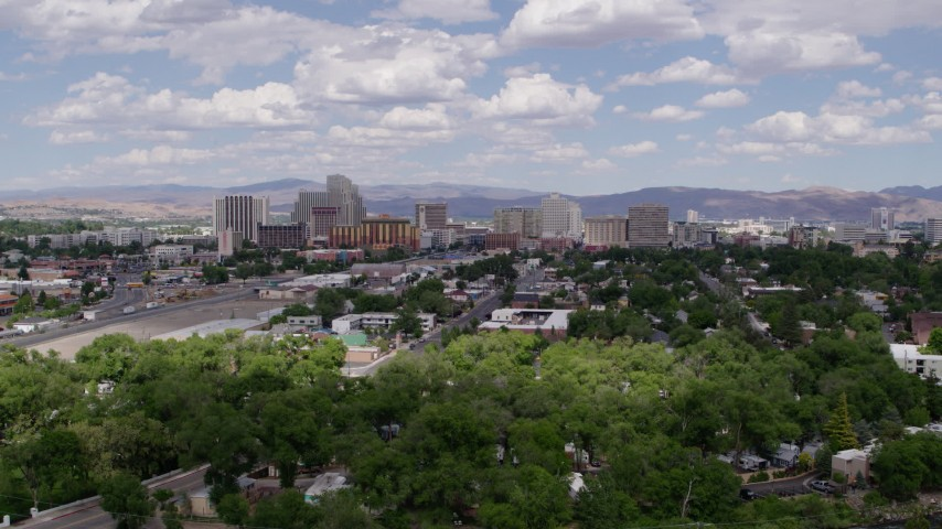 5.7K stock footage aerial video of the city's skyline, seen from west of the city in Reno, Nevada Aerial Stock Footage | DX0001_000039