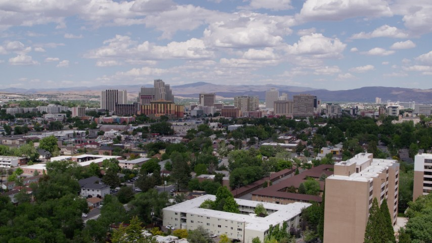5.7K stock footage aerial video of hotels and casinos of the city's skyline, seen from west of the city in Reno, Nevada Aerial Stock Footage   DX0001_000040