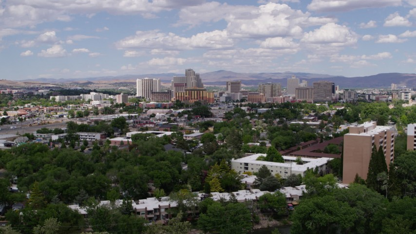 5.7K stock footage aerial video slowly flyby hotels and casinos of the city's skyline in Reno, Nevada Aerial Stock Footage DX0001_000047 | Axiom Images