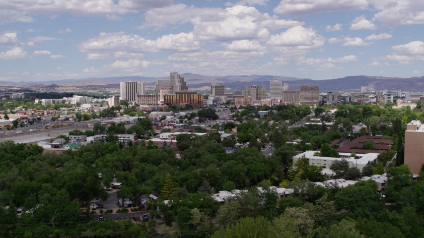 5.7K stock footage aerial video of approaching hotels and casinos of the city's skyline in Reno, Nevada Aerial Stock Footage | DX0001_000048