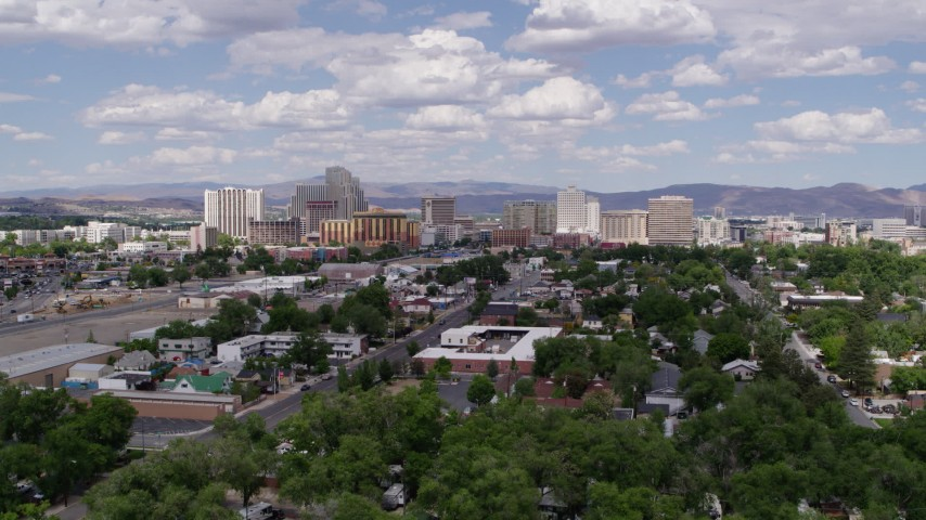 5.7K stock footage aerial video of passing by the hotels and casino resorts of Reno, Nevada Aerial Stock Footage | DX0001_000051