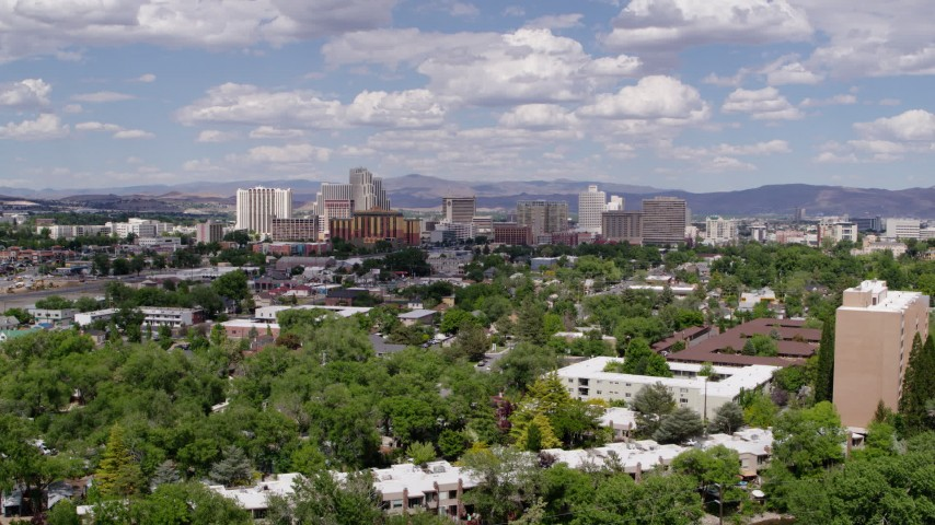 5.7K aerial video of the hotels and casino resorts of Reno, Nevada Aerial Stock Footage | DX0001_000053
