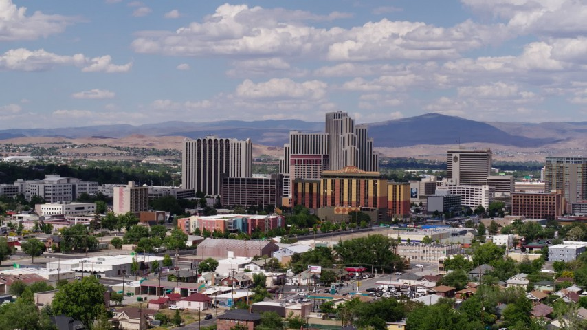 5.7K stock footage aerial video of a group of hotels and casino resorts in Reno, Nevada Aerial Stock Footage | DX0001_000057