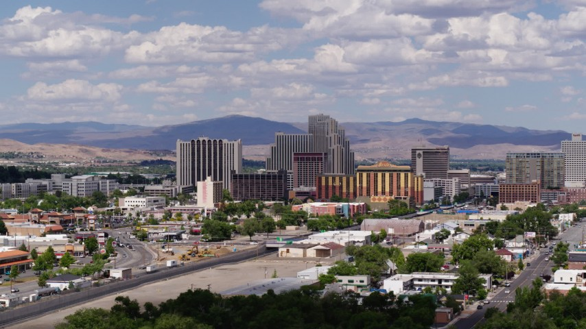5.7K stock footage aerial video of passing by a group of hotels and casino resorts in Reno, Nevada Aerial Stock Footage | DX0001_000059