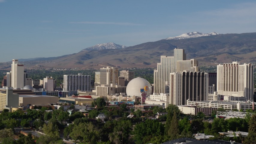 5.7K aerial video of a group of casino resorts in Reno, Nevada Aerial Stock Footage | DX0001_000071
