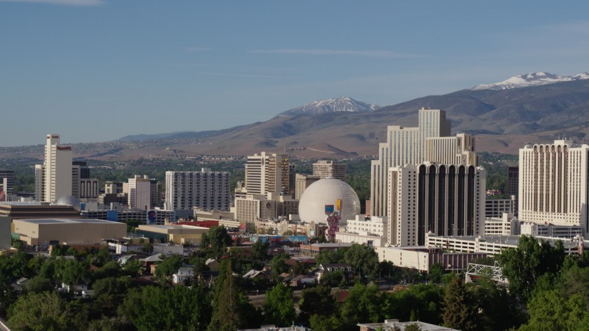 5.7K stock footage aerial video of flying by a group of casino resorts in Reno, Nevada Aerial Stock Footage | DX0001_000072