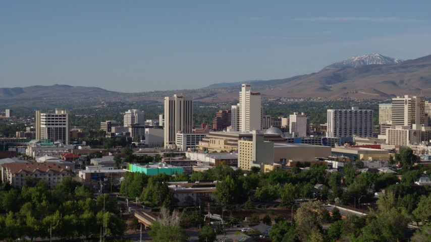 5.7K stock footage aerial video of a view of high-rise casino resorts in Reno, Nevada Aerial Stock Footage | DX0001_000073