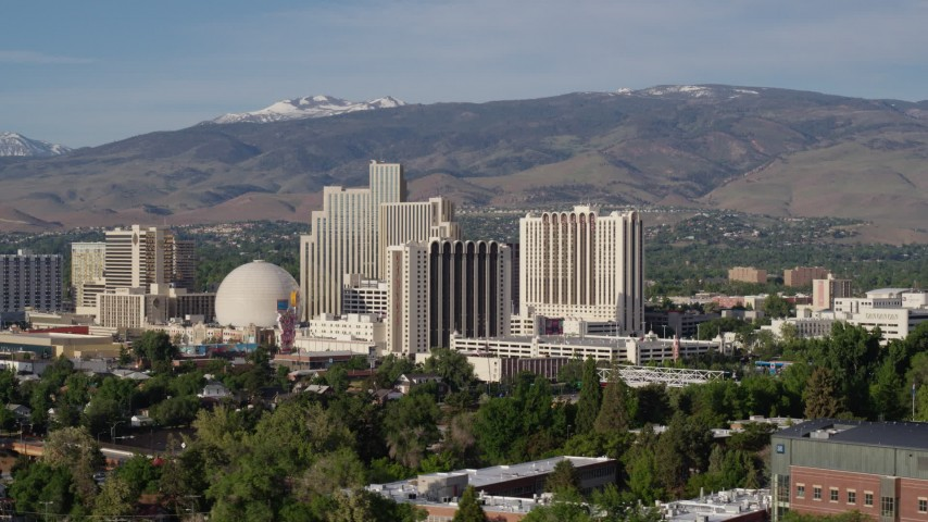 5.7K stock footage aerial video of casino resorts in Reno, Nevada Aerial Stock Footage   DX0001_000075
