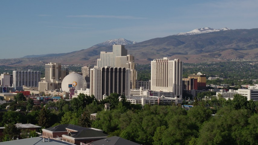 5.7K stock footage aerial video of high-rise casino resorts in Reno, Nevada Aerial Stock Footage | DX0001_000076
