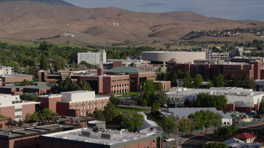 5.7K stock footage aerial video of a view of the campus of the University of Nevada in Reno, Nevada Aerial Stock Footage | DX0001_000079