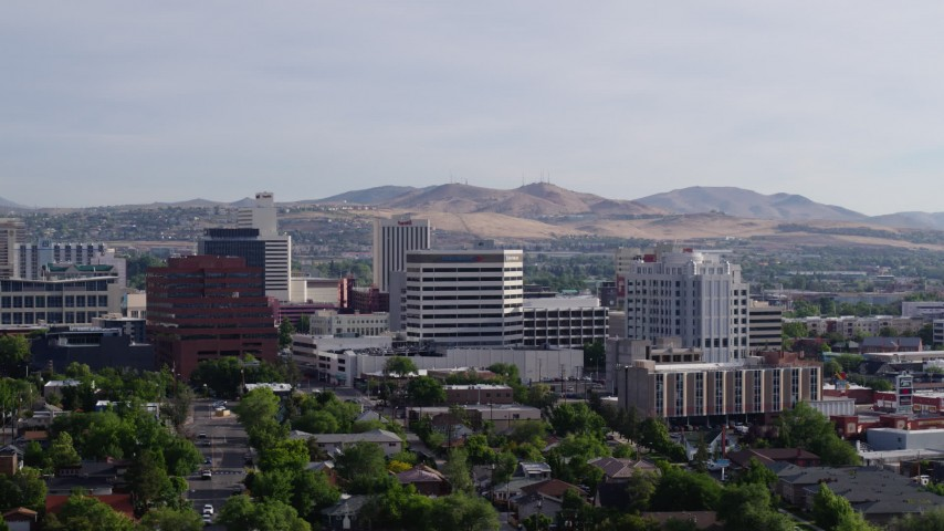 5.7K aerial video of flying by a group of office buildings in Reno, Nevada Aerial Stock Footage | DX0001_000083