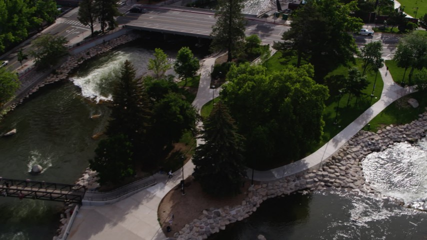 5.7K stock footage aerial video of a bird's eye view of the Truckee River and Wingfield Park in Reno, Nevada Aerial Stock Footage DX0001_000103 | Axiom Images