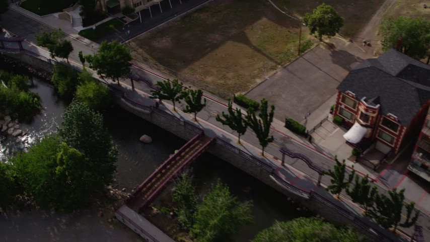 5.7K stock footage aerial video of a bird's eye view of the Truckee River and Island Avenue in Reno, Nevada Aerial Stock Footage | DX0001_000104