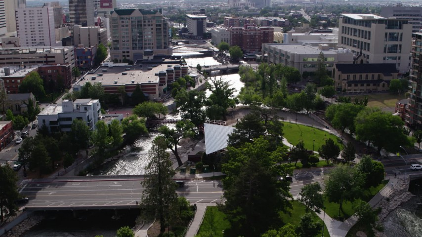 5.7K stock footage aerial video of a bird's eye view of the Truckee River, and reveal Wingfield Park in Reno, Nevada Aerial Stock Footage | DX0001_000105