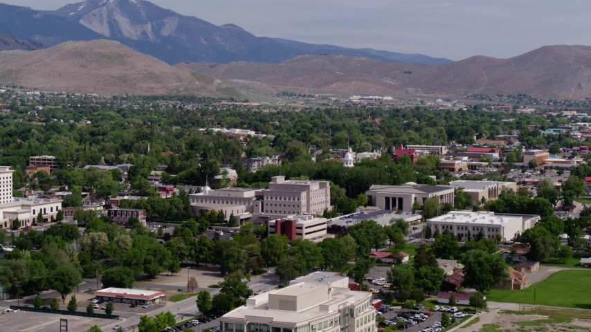 5.7K stock footage aerial video of the Nevada State Capitol Building and other government buildings in Carson City, Nevada Aerial Stock Footage | DX0001_000109