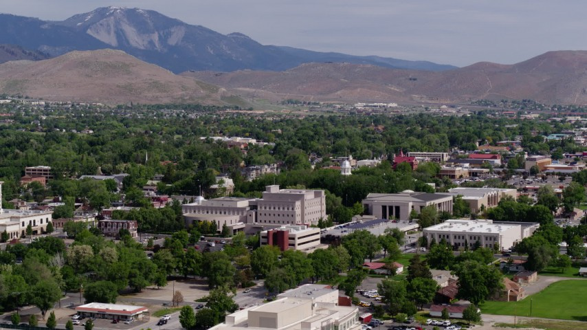 5.7K stock footage aerial video of the Nevada State Capitol dome and other government buildings in Carson City, Nevada Aerial Stock Footage | DX0001_000110