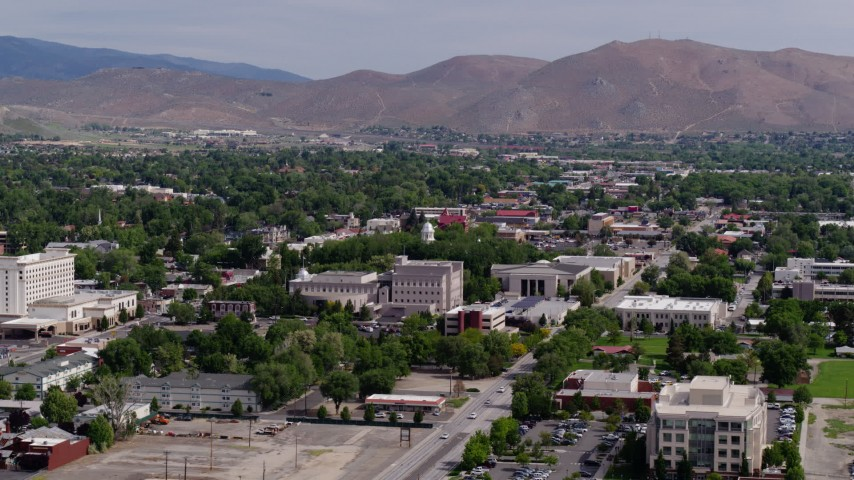5.7K stock footage aerial video of the Nevada State Capitol dome and state government buildings in Carson City, Nevada Aerial Stock Footage | DX0001_000112