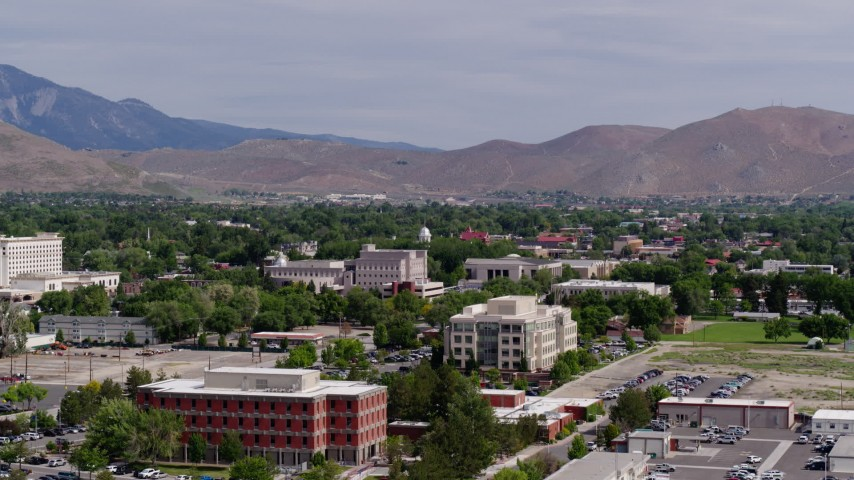 5.7K stock footage aerial video of the Nevada State Capitol dome and state government buildings in Carson City, Nevada Aerial Stock Footage | DX0001_000113