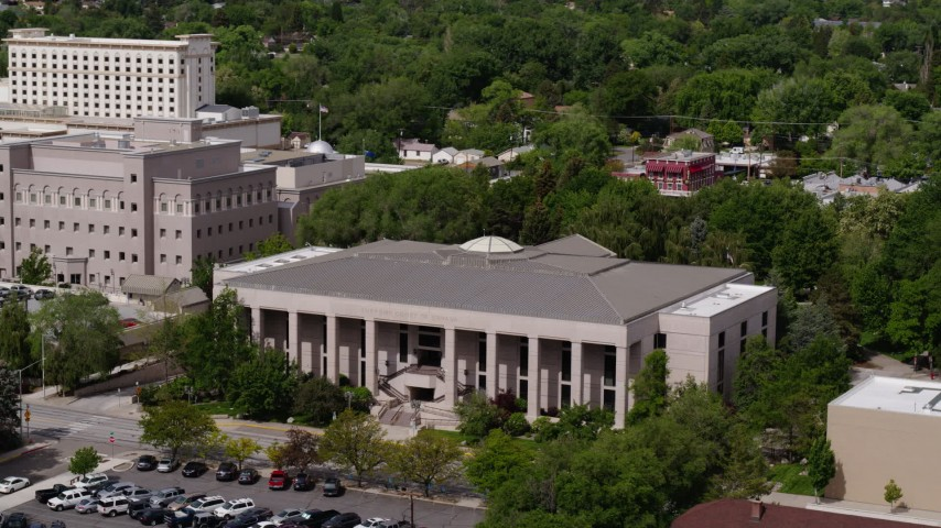 5.7K stock footage aerial video of the Supreme Court of Nevada in Carson City, Nevada Aerial Stock Footage | DX0001_000116