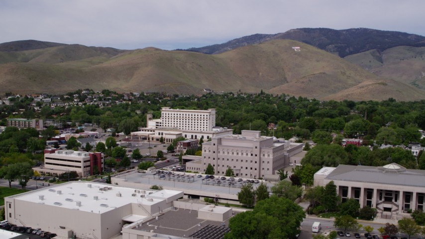 5.7K stock footage aerial video flyby Supreme Court, Nevada State Legislature, and focus on office building in Carson City, Nevada Aerial Stock Footage | DX0001_000122