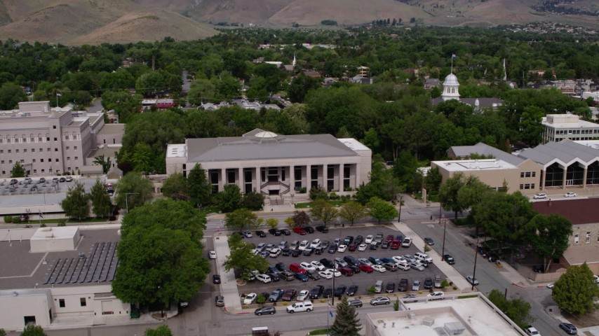 5.7K stock footage aerial video of the Supreme Court and the Nevada State Capitol in Carson City, Nevada Aerial Stock Footage | DX0001_000123