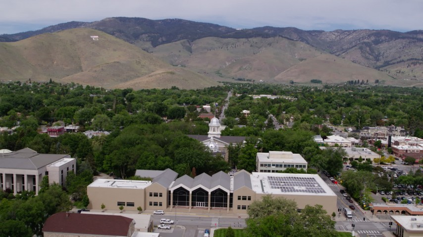 5 7K stock footage aerial video approach the Nevada State Capitol and State  Library in Carson City, Nevada