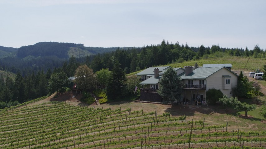 5.7K stock footage aerial video of a hilltop home overlooking Phelps Creek Vineyards in Hood River, Oregon Aerial Stock Footage | DX0001_000164