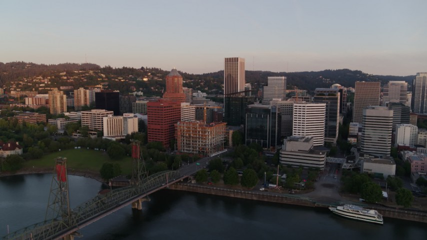 4K stock footage aerial video flying away from downtown by Hawthorne Bridge, Downtown Portland, Oregon Aerial Stock Footage | DX0001_000175