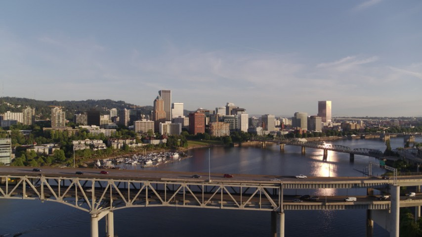 4K stock footage aerial video flying over Marquam Bridge, approaching Riverplace Marina and Downtown Portland, Oregon Aerial Stock Footage | DX0001_000196