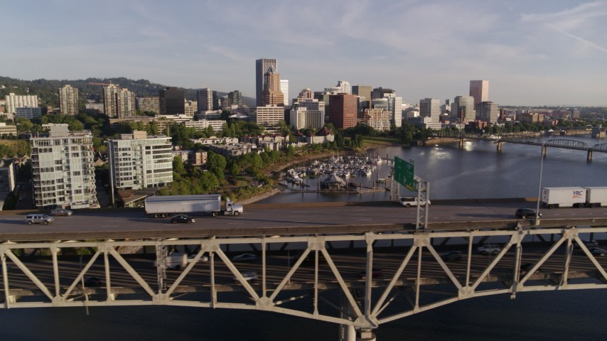 4K stock footage aerial video tracking light traffic on upper deck of Marquam Bridge, I-5, Downtown Portland, Oregon Aerial Stock Footage | DX0001_000198