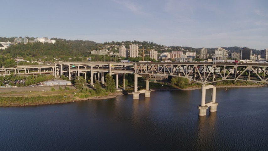 4K stock footage aerial video away from Marquam Bridge, I-5, over Willamette River, Downtown Portland, Oregon Aerial Stock Footage | DX0001_000201