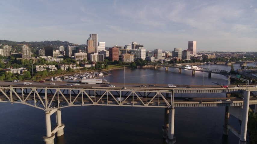 4K stock footage aerial video approaching and flying over the Marquam Bridge, I-5, Downtown Portland, Oregon Aerial Stock Footage DX0001_000202
