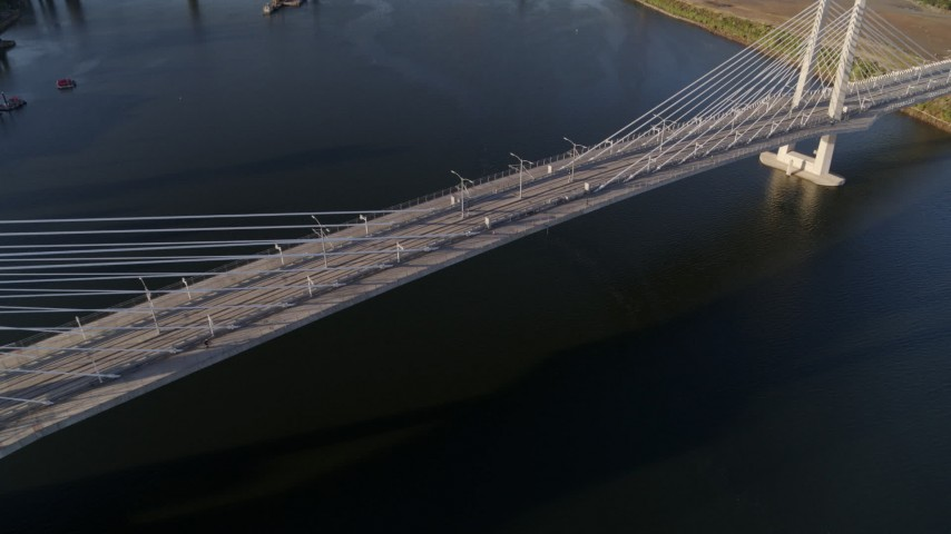 4K stock footage aerial video of a bird's eye view of pedestrians on the Tilikum Crossing, South Portland, Oregon Aerial Stock Footage | DX0001_000205