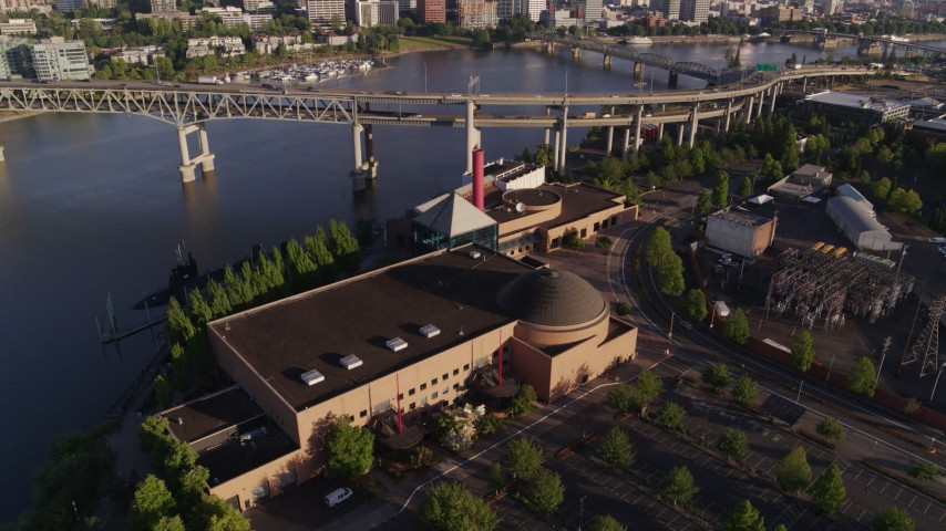 6K aerial video of the Marquam Bridge, and OMSI in the foreground, Portland, Oregon Aerial Stock Footage | DX0001_000208