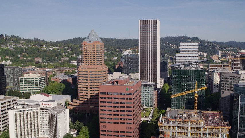 5.7K stock footage aerial video of KOIN Center, Wells Fargo Center, downtown buildings and skyscrapers, Downtown Portland, Oregon Aerial Stock Footage | DX0001_000222