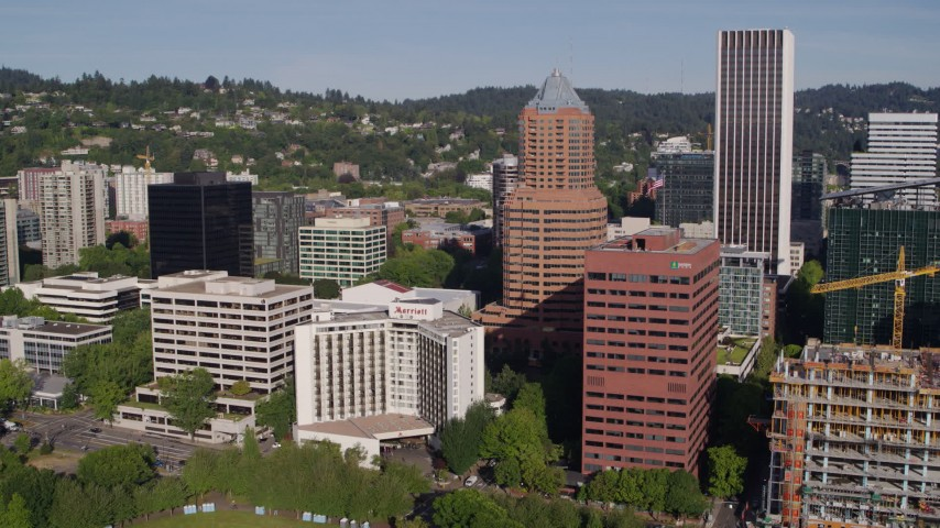 5.7K stock footage aerial video of skyscrapers, office buildings, and the Marriott Hotel in Downtown Portland, Oregon Aerial Stock Footage | DX0001_000223